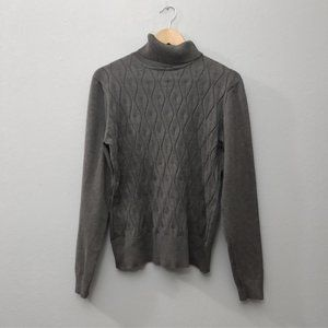 Eclectic Gray Turtleneck Soft Sweater Wavy Knit